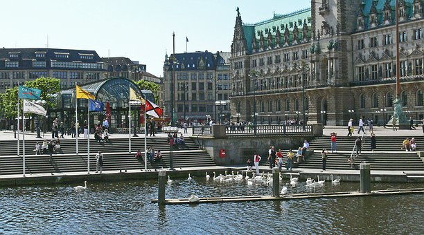 Hamburg, Town Hall Square, Alster Terraces, Stairs