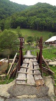 Bridge, Village, Summer, Mountain, Mountains, Views