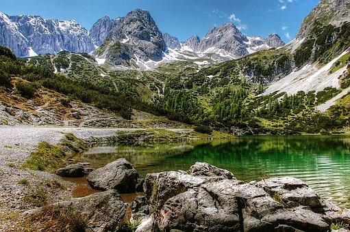 Tyrol, Seebensee, Bergsee, Mountains, Idyll