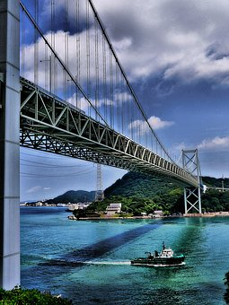 Bridge, Japan, Shimonoseki, Ship, Sea, Landscape
