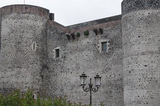 Castle, Masonry, Old, Fortress, Wall, Catania