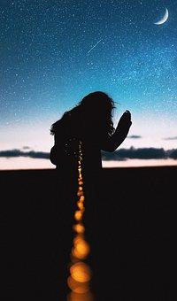Moon, Light, Stars, Sky, Girl