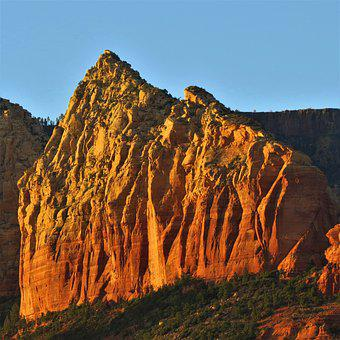Golden Sunset, Rock Face, Sedona, Arizona, Orange