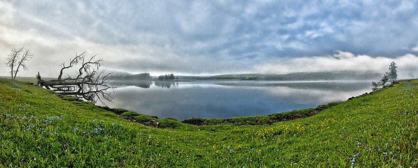 Panoramic Landscape, A Small Lake, Morning Mist, June