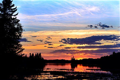 Sunset, Colors, Lake, Nature, Trees, Clouds, Calm, Sky