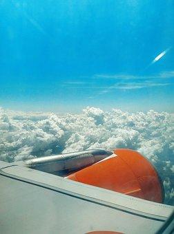 Engine, Aircraft, Flight, Sky, Travel, Easyjet, Clouds