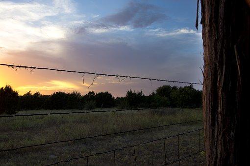 Wire, Sunset, Fence, Sky, Nature, Landscape