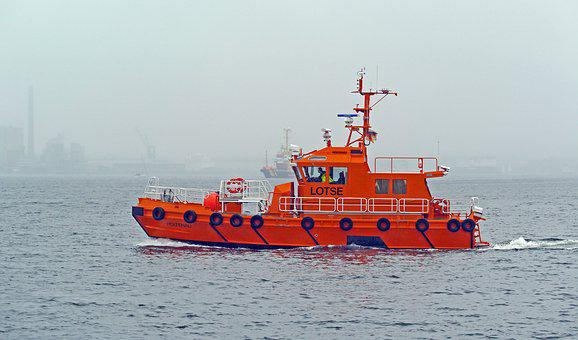 Pilot Boat, Fog, Kieler Firth, Baltic Sea, Kiel
