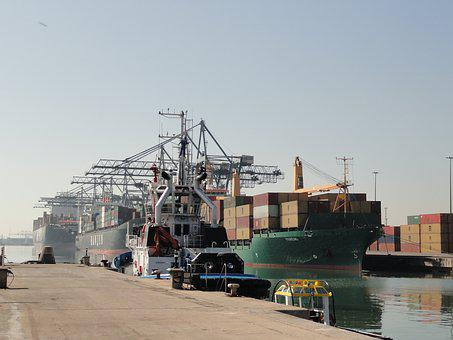Port, Barcelona, Containers, Goods, Boats