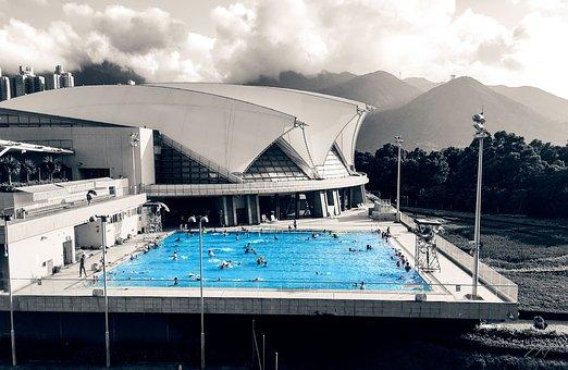Pool, Hongkong, China, Water, Black And White