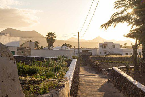 Teguise, Lanzarote, Canary Islands, View, Twilight