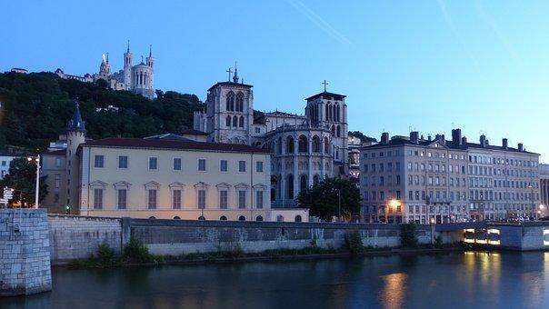 Cathedral, St John, Basilica, Fourviere, Saone, Dawn