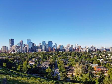 Calgary, Skyline, Alberta, Panorama, City, Downtown
