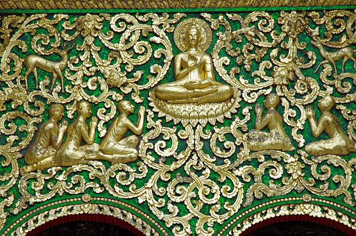 Laos, Temple, Pediment, Decoration, Religious Art