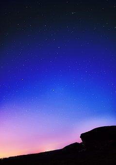 Night Sky, Rock, Sky, Night, Landscape, Nature
