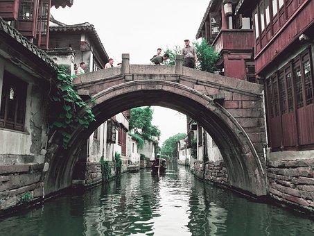 Bridge, Water, China, River, Travel, Scenery, People