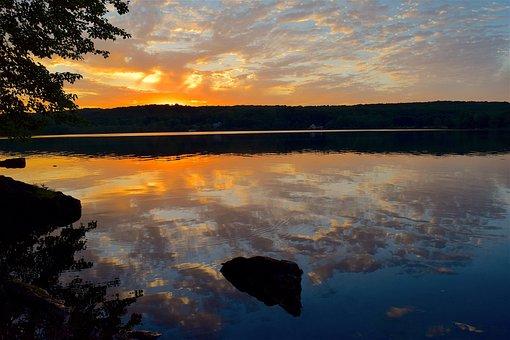 Lake, Sunset, Clouds, Sky, Water, Landscape, Rock, Tree