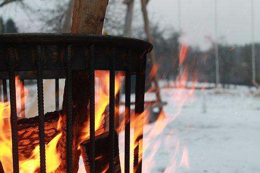 Fire, Fire Basket, Winter, Heat, Wood, Flame, Close