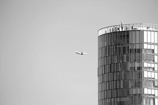 Cologne, Tower, Aircraft, Window, Glass, Sky, Freedom