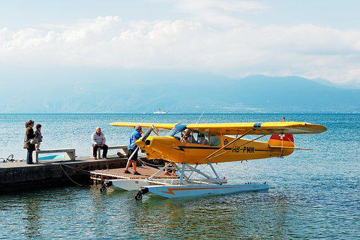 Seaplane, Geneva, Lake, Switzerland, Mountains, Clouds