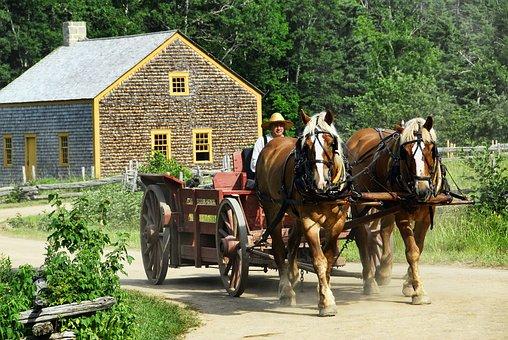Horse-drawn, Cart, Transportation, Horse, Wagon, Old