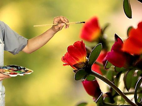 Painter, Color, Colorful, Brush, Flowers, Flower, Paint