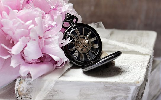 Books, Pocket Watch, Peony, Worn, Old, Time, Read, Font
