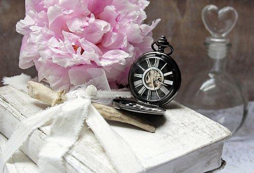 Books, Pocket Watch, Peony, Flacon, Heart Bottle, Worn