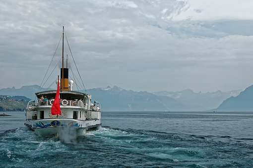 Geneva, Lake, Switzerland, Mountains, Clouds, Ship