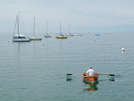Geneva, Lake, Switzerland, Boot, Sail, Rowing Boat