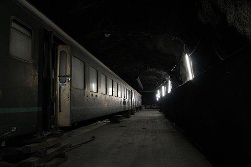 Tunnel, Train, Old, Broken, Light, Railway, Transport