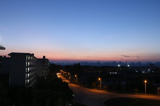 Blue Sky, Sunset, Night View, Street Lights