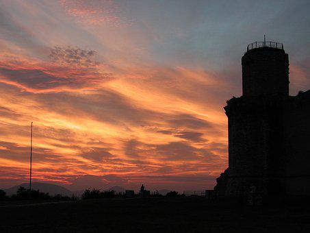 Castle, Italy, Red Sky, Old, Landmark, Architecture