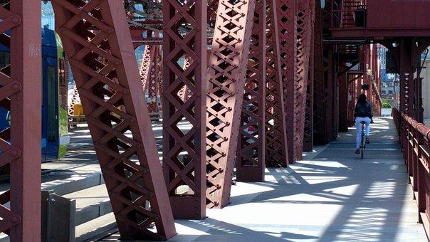 Cyclist, Broadway Bridge, Red Bridge, Cycling, Walkway