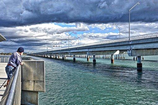 Fisherman, Bridge, Perspective, Sky, Water, Outdoor