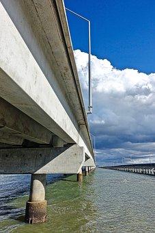 Bridge, Perspective, Water, Transportation, Crossing