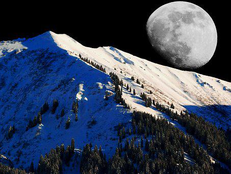 Winter, Moon, Snow, Cold, Wintry, Moonlight, Mystical
