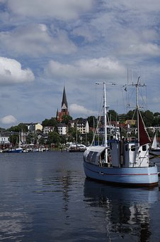 Flensburg, Port, St Jürgen, Water, Boats, Fjord, Church