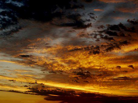 Sunrise, Dramatic, Morgenrot, Dark Clouds, Sky, Clouds