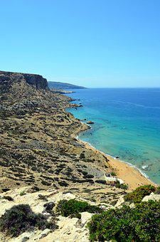 Matala, Greece, Red Beach, Crete, Idyllic, Greek Island