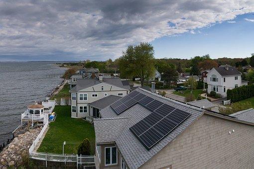 Drone, House Drone, Solar Panel, House, Panorama, Coast