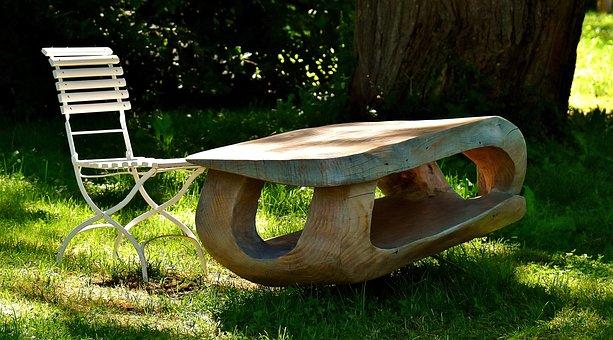 Chair, Table, Design, Garden, Meadow, Botanical Garden