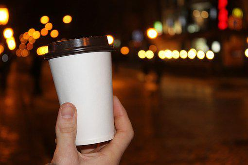 Coffee, Cup, Lights, Evening, Night, Neon, Street