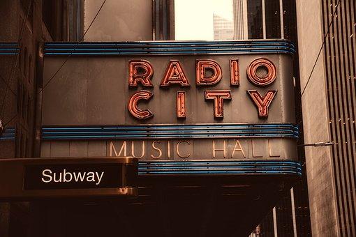 Radio City Music Hall, Landmark, Historic, Sign, Famous
