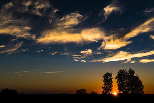 Sunset, Sky, Clouds, Abendstimmung, Evening Sky, Sun