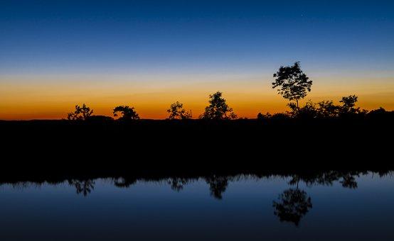 River, Mirroring, Water, Sunset, Reflection