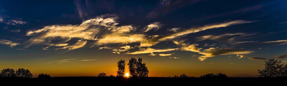 Panorama, Sunset, Sky, Abendstimmung, Clouds, Dusk