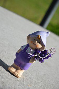 Garden Gnome, Violet, Pants, Flowers In The Hand, Dwarf