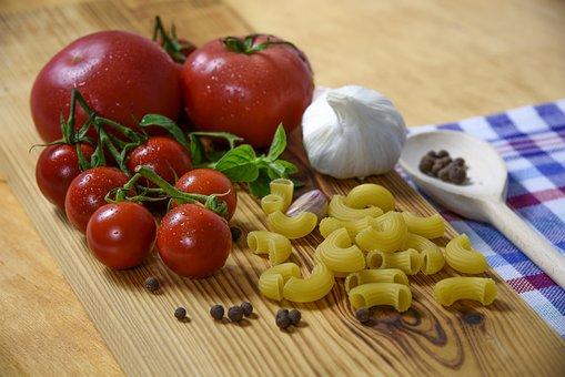 Italian Cuisine, Tomato, Pasta, Garlic, Basil, Eating