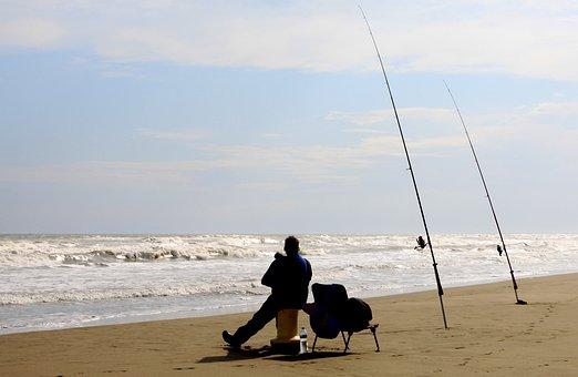 Fishing, Beach, Fisher, Fisherman, Fishing Rods
